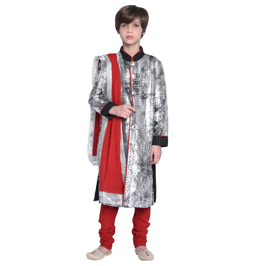 Falken Sherwani & Pyjama with Stole Set for Boys