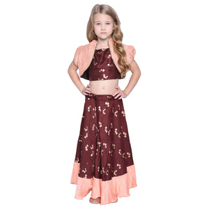 Hazen Crop Top & Skirt with Shrug Set for Girls