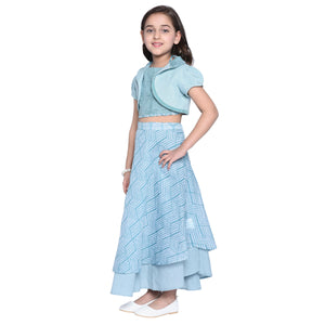 Junia Crop top, Skirt & Shrug Set for  girls