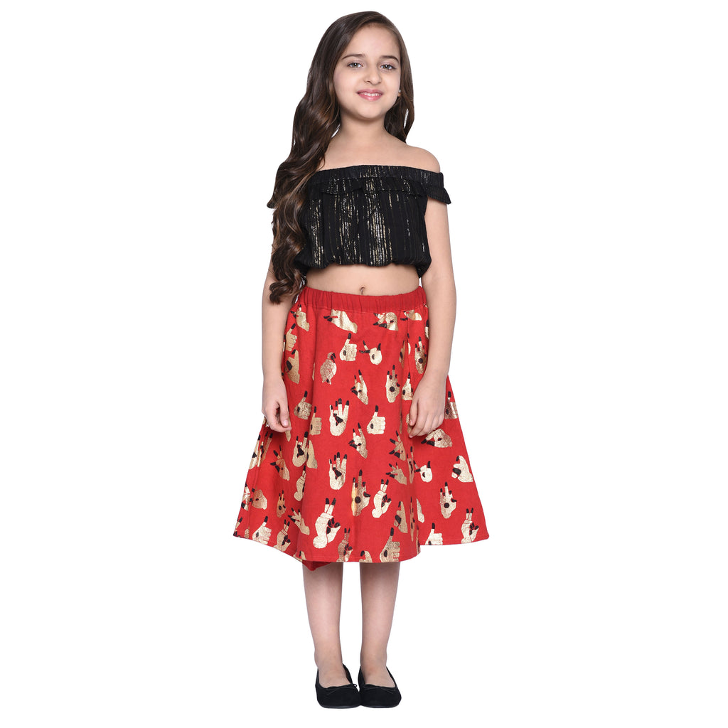 Klara Crop Top & Skirt Set for Girls