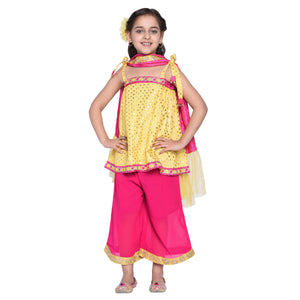 Lynnea Crop Top & Palazzo with Dupatta Set for Girls