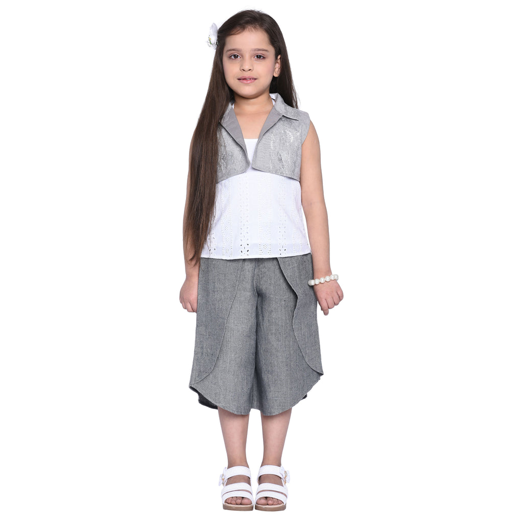 Mabel designer Palazzo & Kurti with Shrug Set for Girls