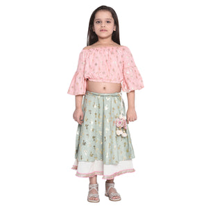 Mallorie Crop Top & Lehnga Set for Girls