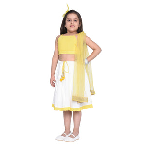Manon Crop Top & Skirt with Dupatta Set for Girls