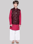 Matteo Red kurta & Pajama with Jacket Set for Boys