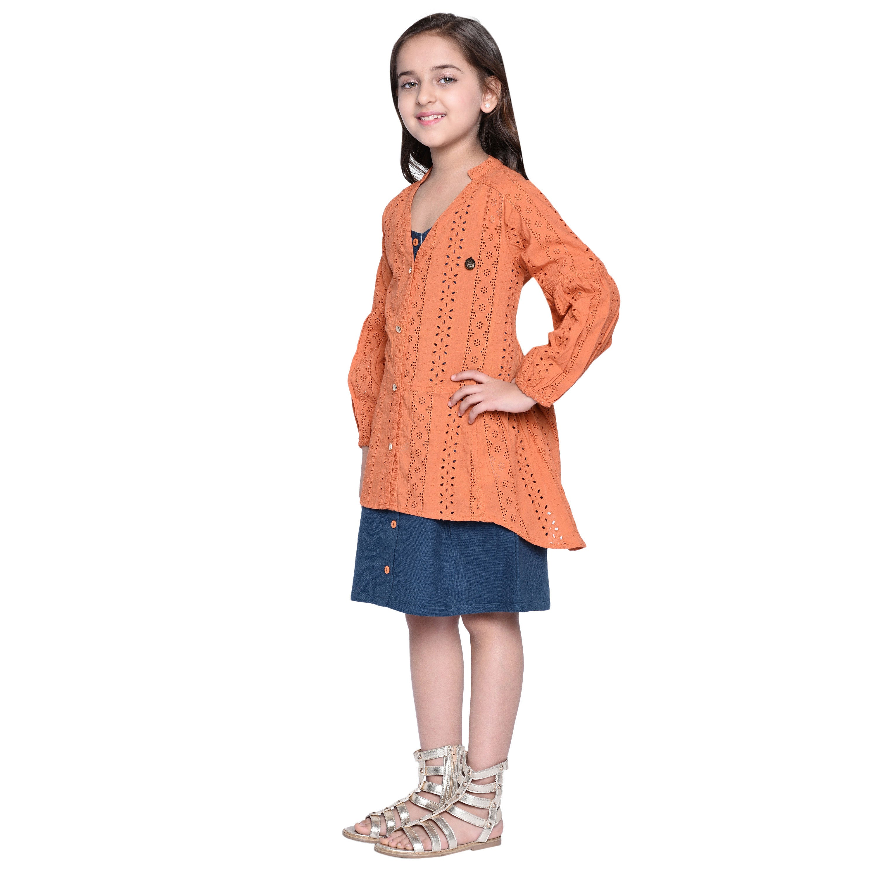 Matilda4 Dress with Shrug Set for Girls