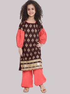 Noor Red Kurta with Haram Pant and Dupatta set for girl
