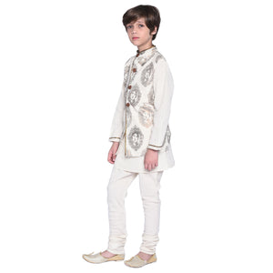 Nels Kurta & Pajama with Jacket Set for Boys
