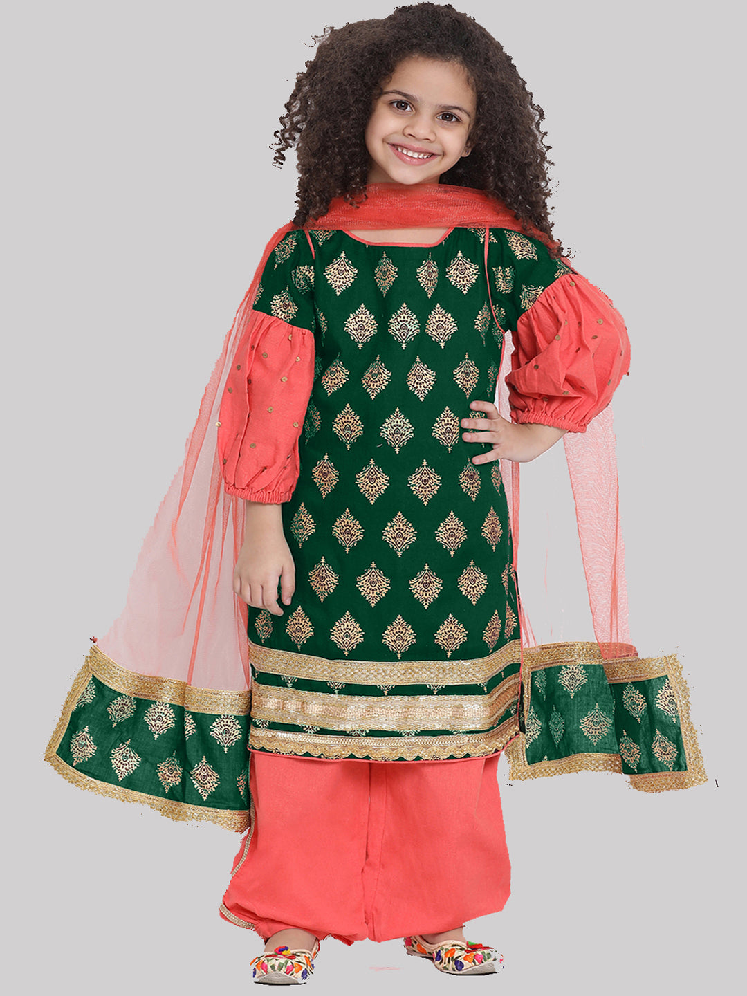 Noor Green Kurta with Haram Pant and Dupatta set for girl