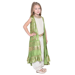 Norna Designer Ethnic Set with Shrug for Girls