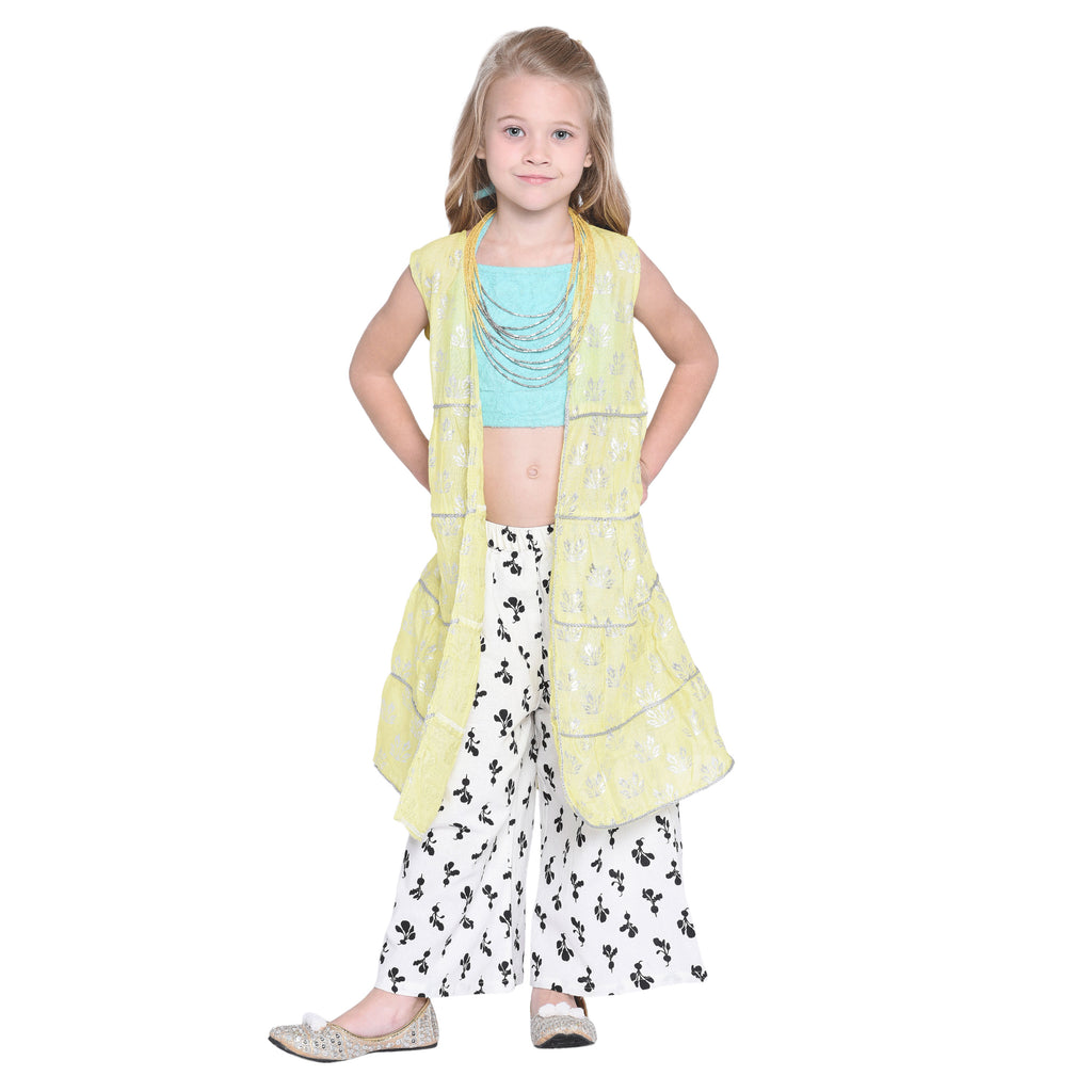 Otka Crop Top & Palazzo with Shrug Set for Girls