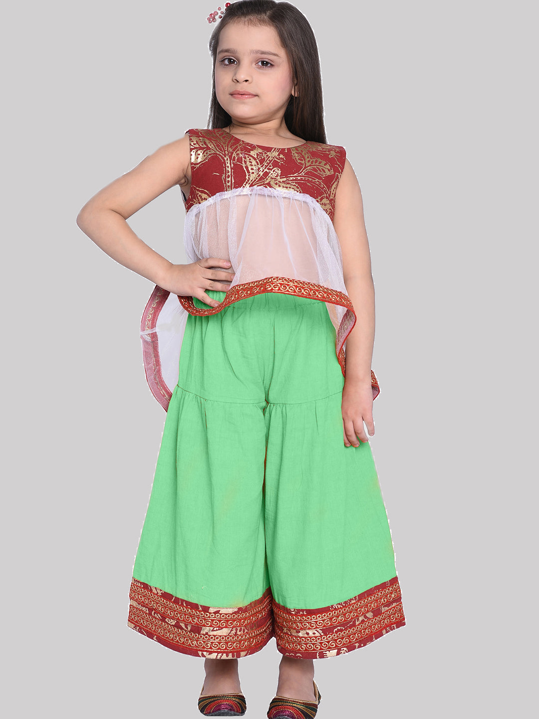 Pepin Green Ethnic Kurti & Palazzo Set for Girls
