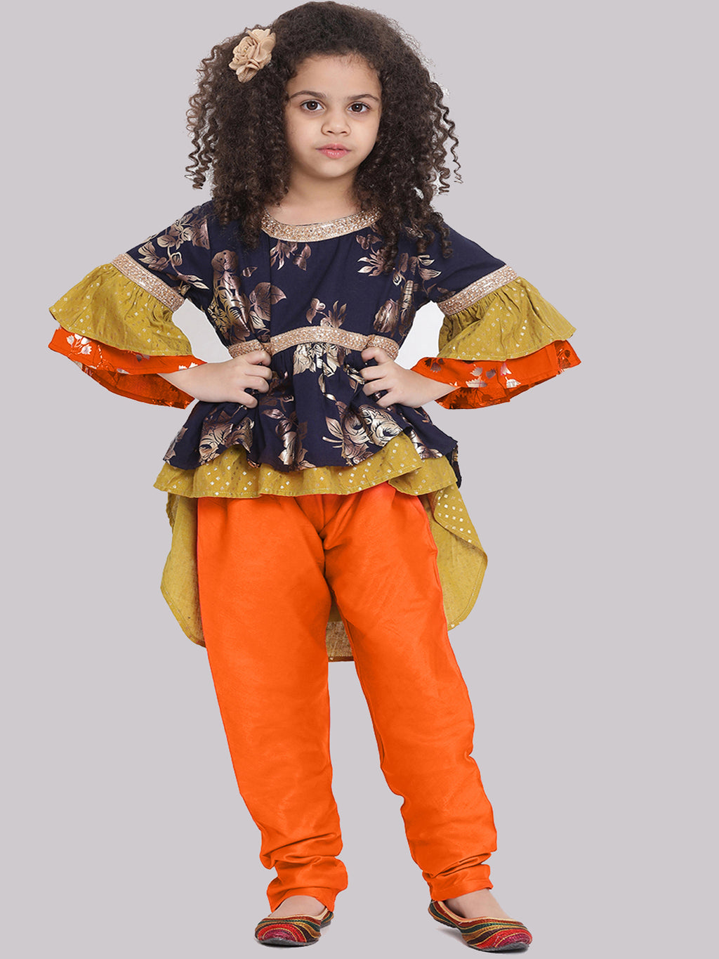 Ragini Orenge Kurta with Pajama set for Girls
