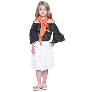 Tessa Crop Top & Skirt with Scarf Set for Kid Girls age 2-12 years