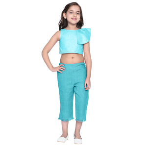 Celia Blue Crop top & Capris Set for Girls
