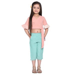 Darcie Peach Blue Crop Top & Capri Set for Girls