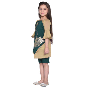 Fabia Tony Olive Kurta and Jade shorts set for Girls