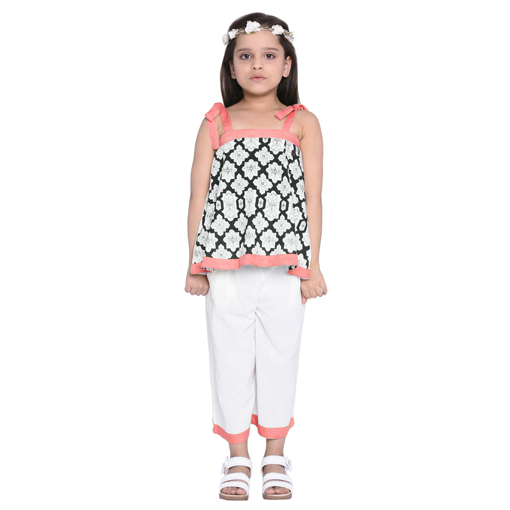 Florence Orange Crop Top & Palazzo Set for Girls