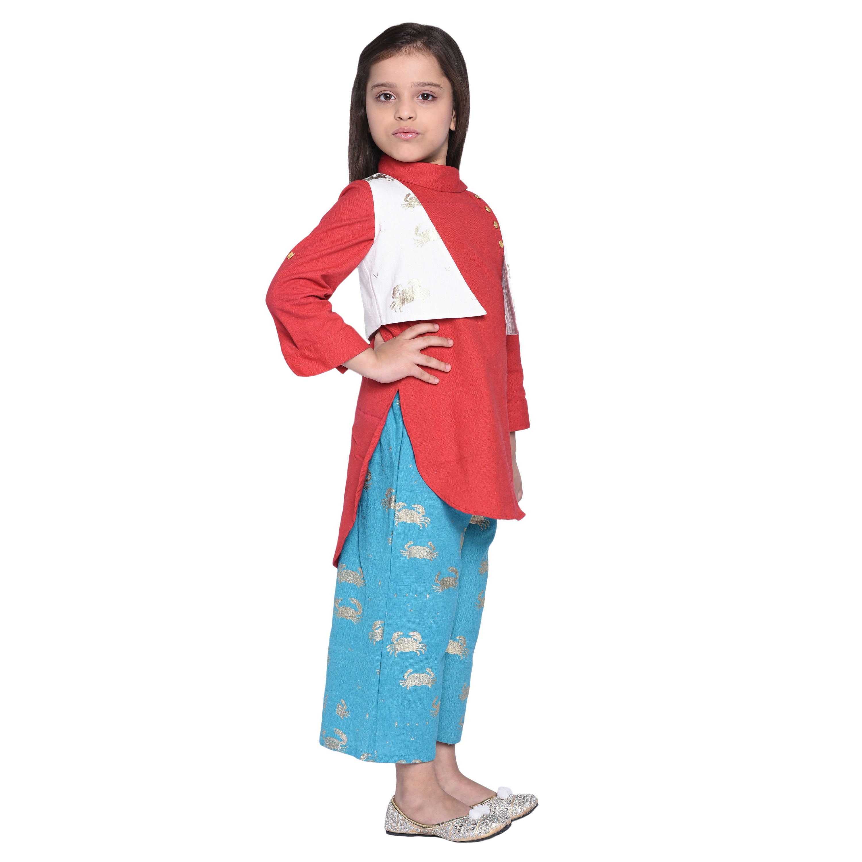 Waylon Kurti & Palazzo with Shrug Set for Kid Girls age 2-12 years