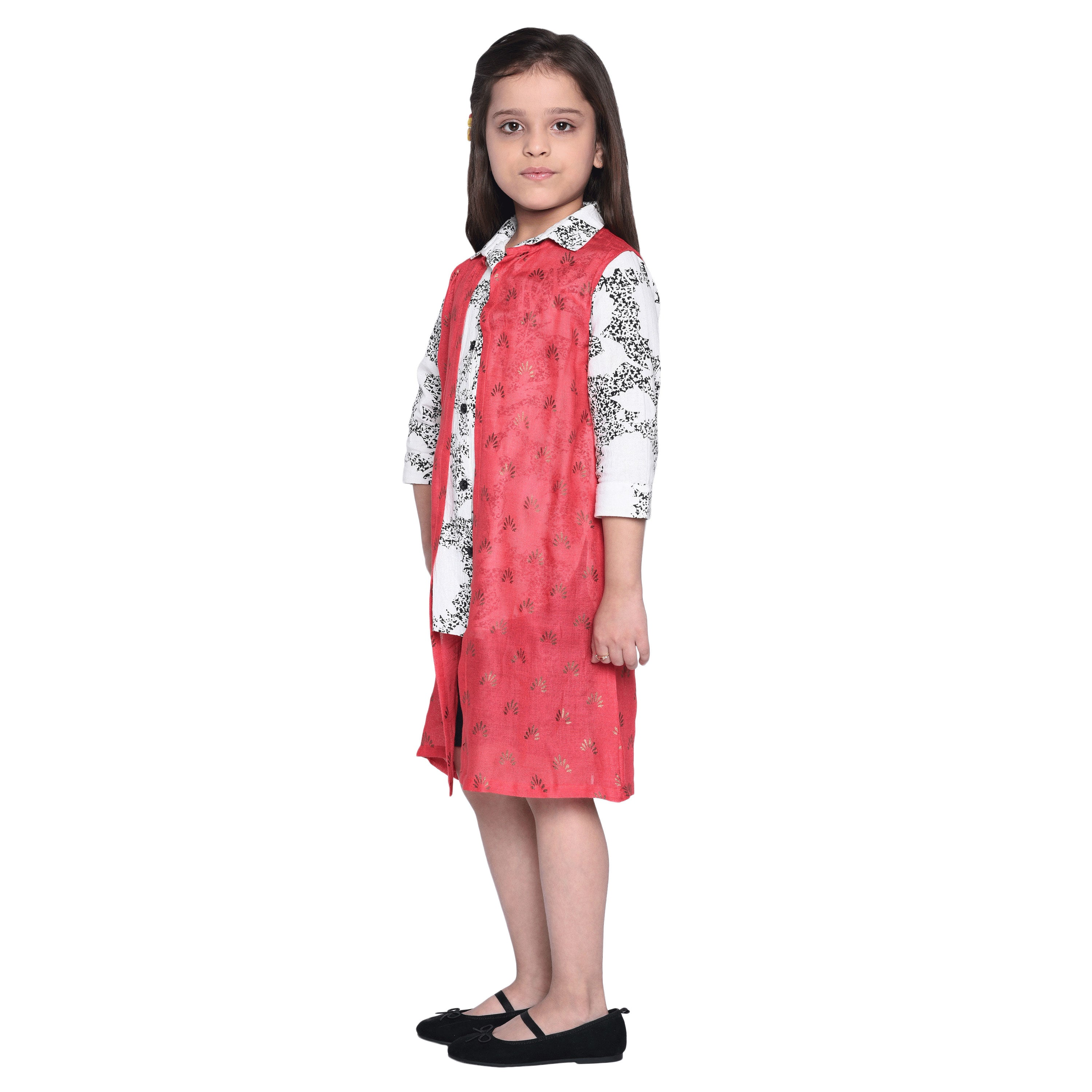 Wellow  Shirt & Short with Shrug Set for Kid Girls age 2-12 years