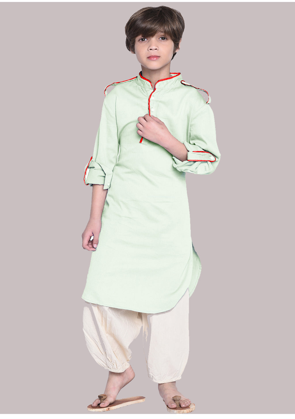 William Light Green Kurta Pajam Set For Boys