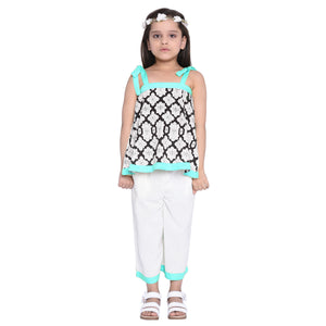 Florence Blue Crop Top & Palazzo Set for Girls