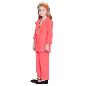 Libby Coral Pant & coat with Crop Top Set For Girls