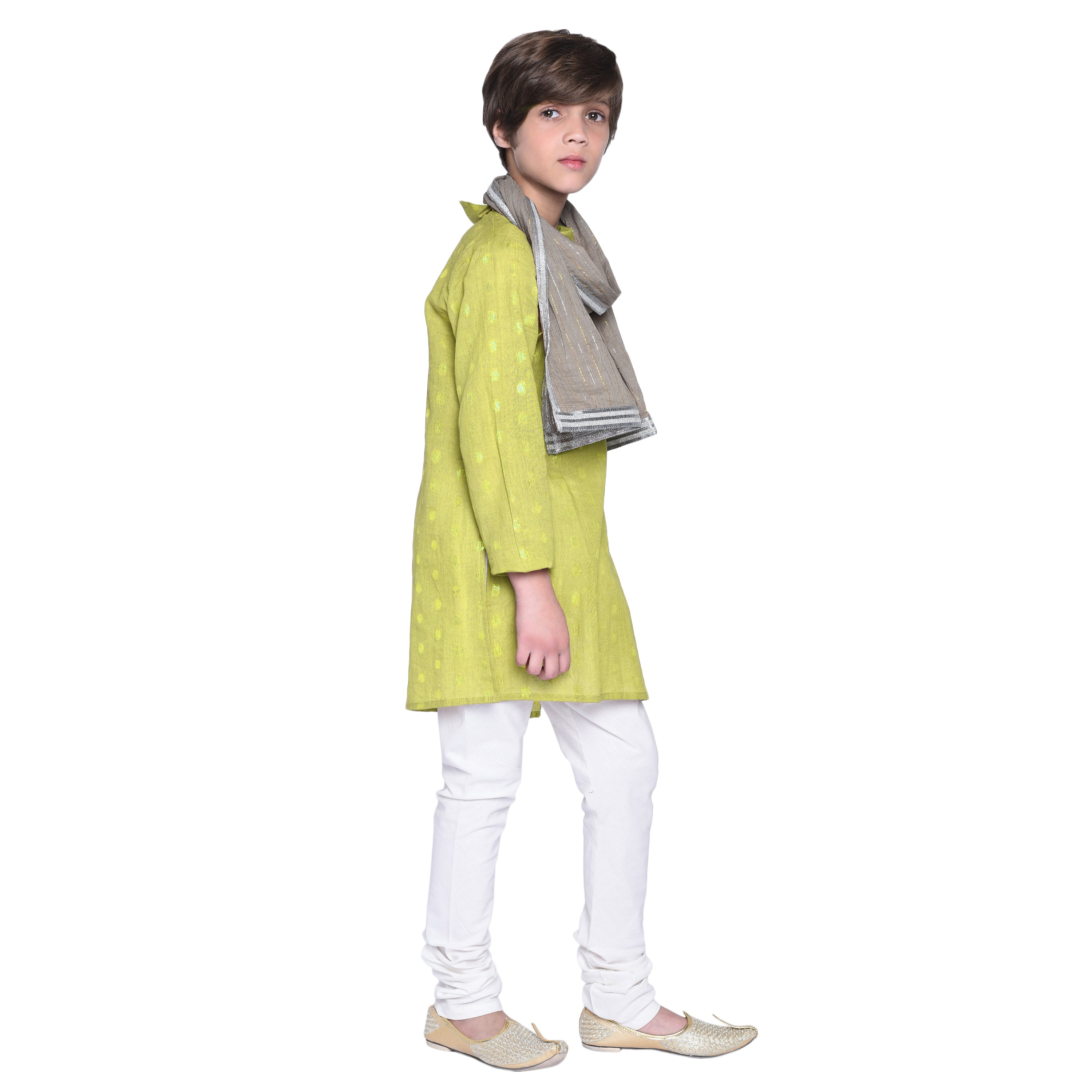 Dex Green Kurta & Pajama with Stole Set for Boys