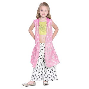 Otka Pink Crop Top & Palazzo with Shrug Set for Girls