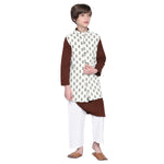 Alban Brown Kurta & Pajama with Jacket Set for Boys