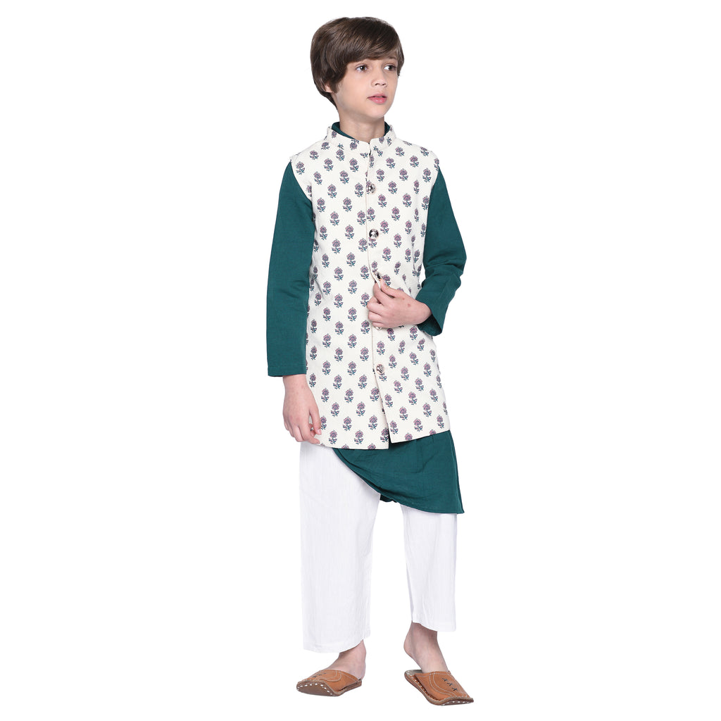 Alban Teal Kurta & Pajama with Jacket Set for Boys