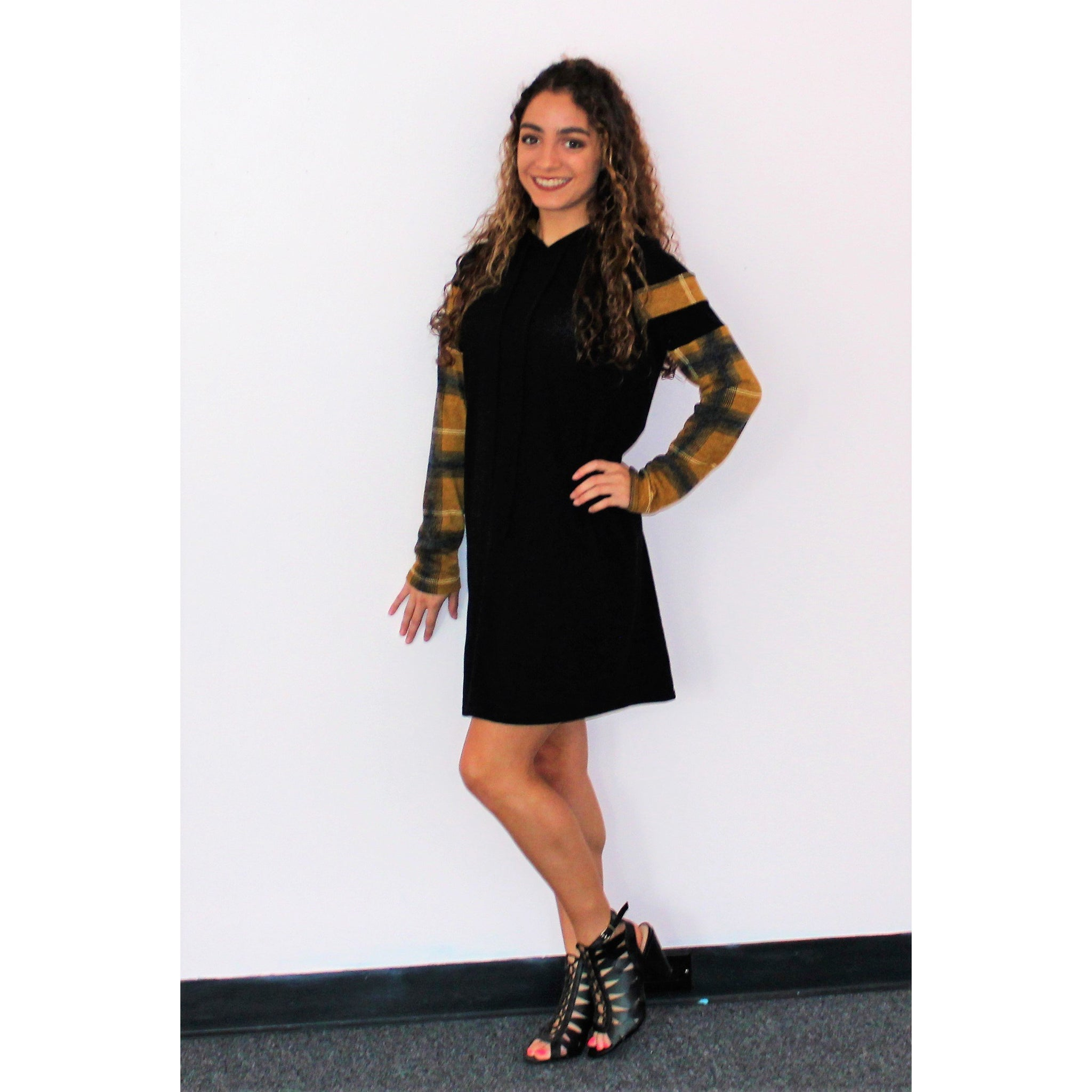 Vision Touch of Plaid Hoodie Sweater Dress