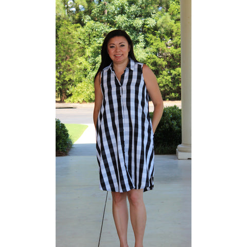 Mlle Gabrielle Black/White Check Dress