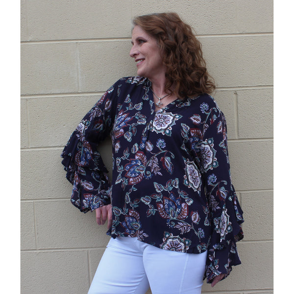 Emma G Floral Ruffle Sleeve Top