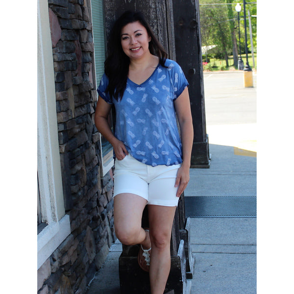 Cable & Gauge Pineapple Top-Navy
