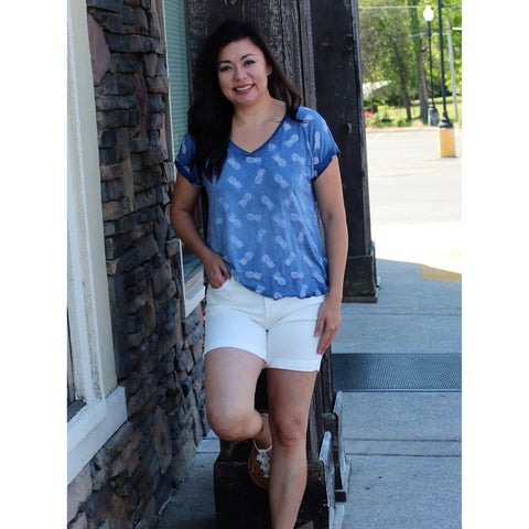 Sweet Pineapple Top-Navy