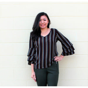 Unique Spectrum Striped Top-Multi Color
