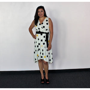 Emma & Michelle Cream/Black Belted Dot Dress