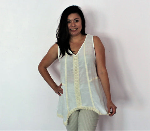 Emma G Ivory Sleeveless Top