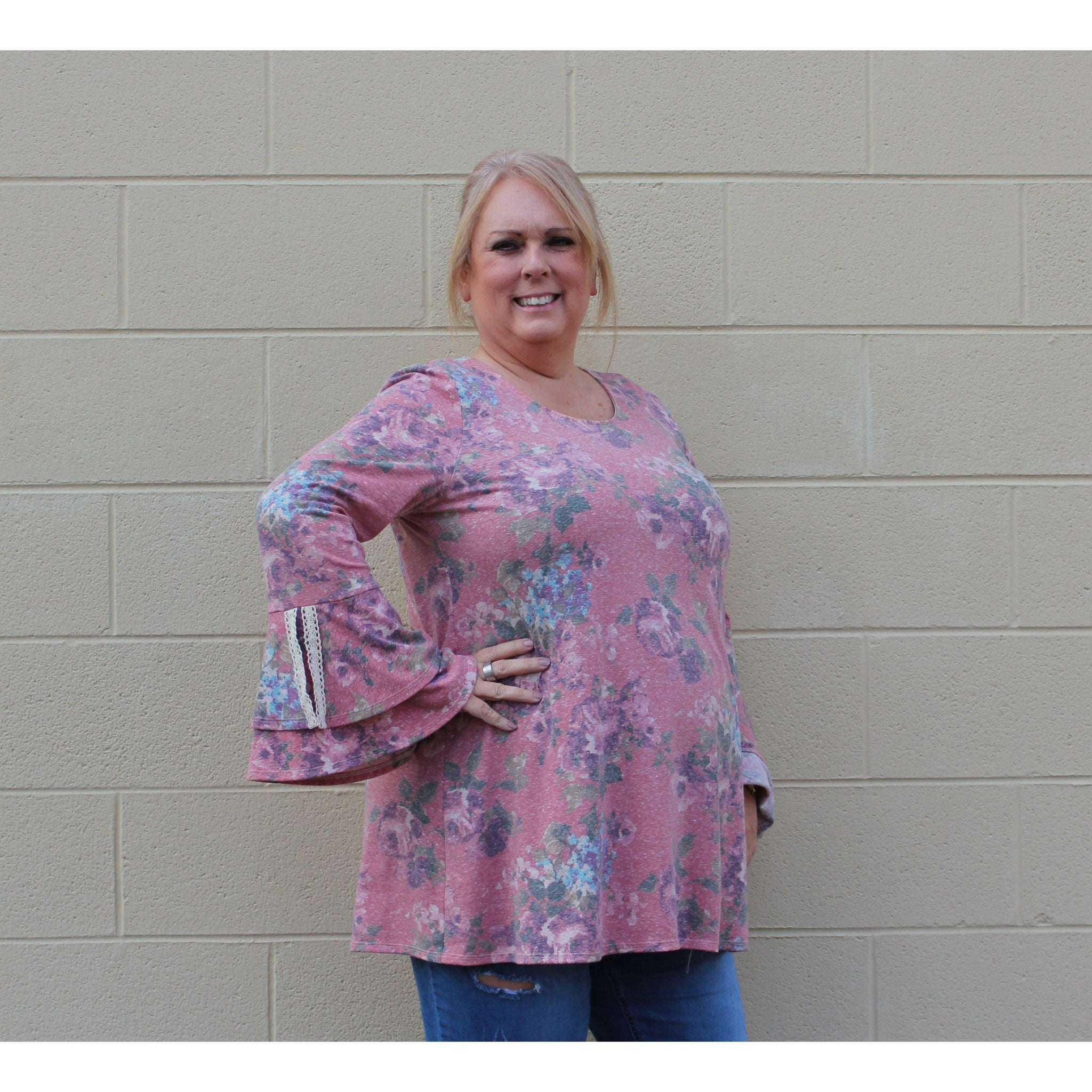 Floral Print Double Bell Sleeve Tunic-Plus