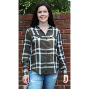 Alexander Jordan Olive/White Plaid Button Down Top