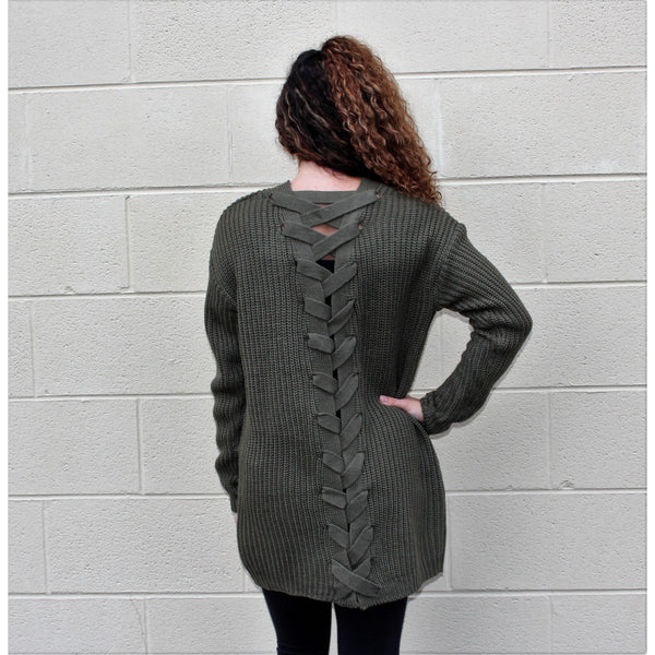 Harlow & Rose Olive Lace Up Back Cardigan