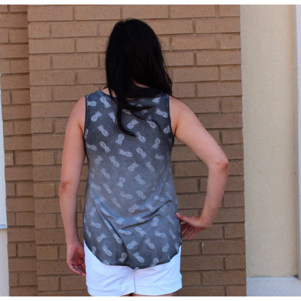 Cable & Gauge Pineapple Tank Top-Charcoal