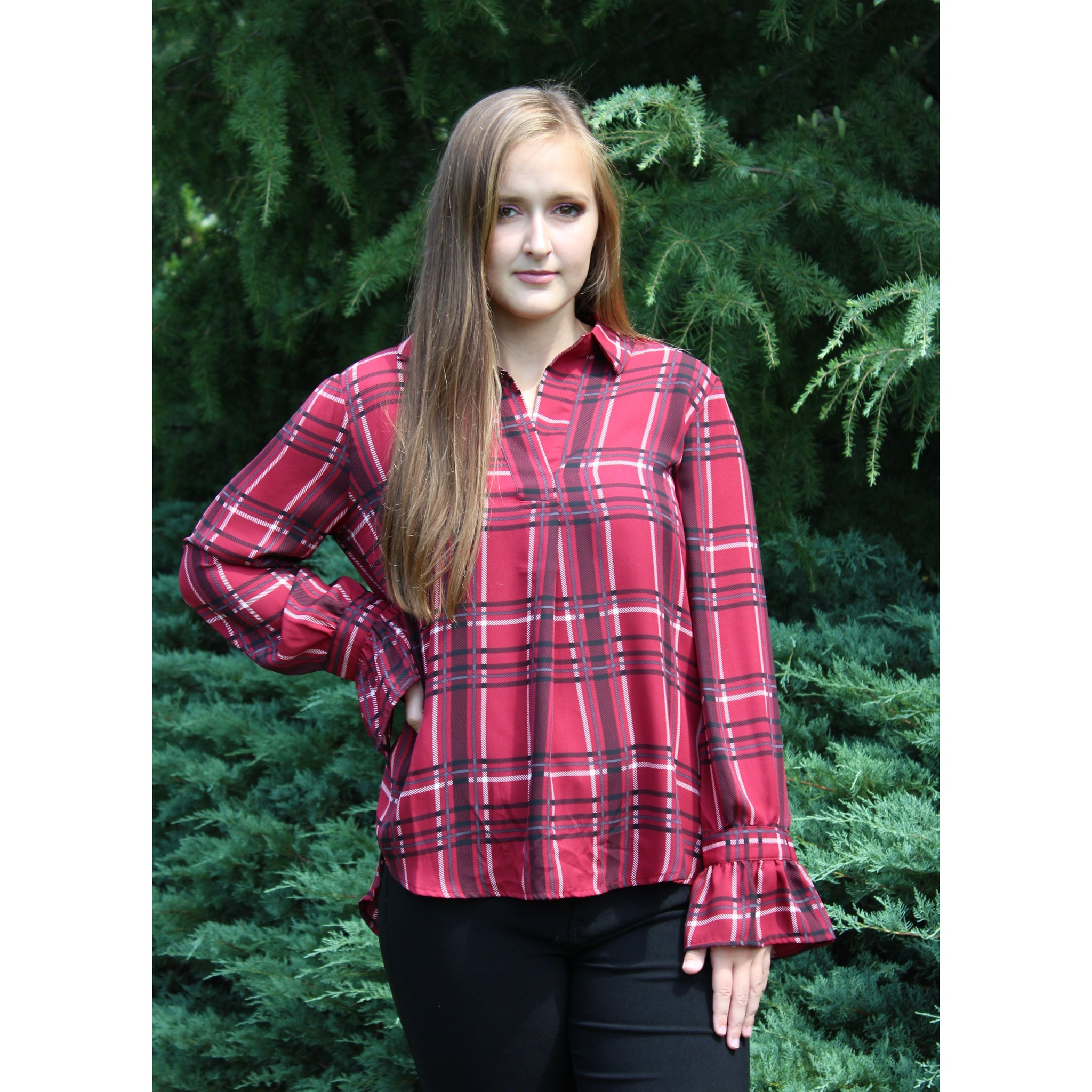 Red Plaid Ruffle Sleeve Top