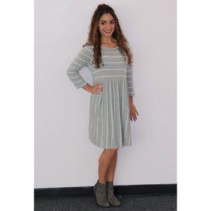 Rylee's Favorite Grey Long Sripe Dress