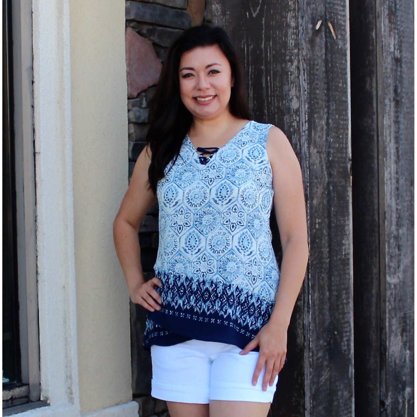 Sunny Leigh Blue/White Sleeveless Top