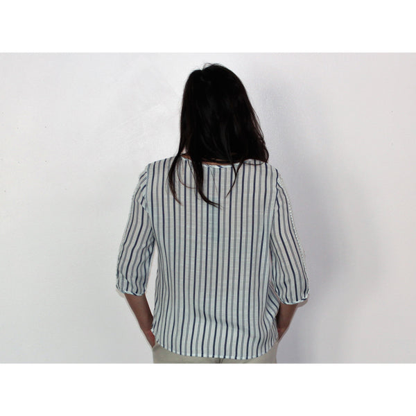 Unique Spectrum Striped Tie Front Top