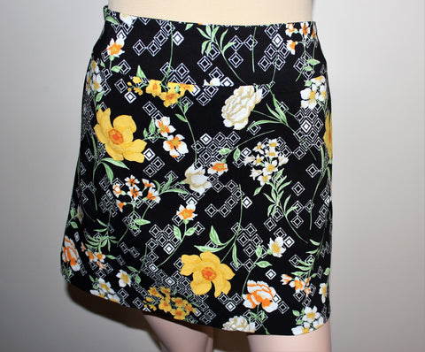 Zac & Rachel Skort-Black/Yellow Floral