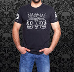 Black with White Cartoon Double Skull Shirt
