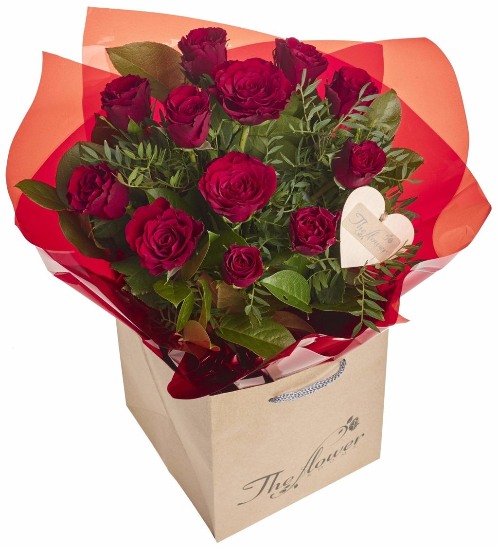 12 Red Rose Hand Tied Bouquet - Dozen Red Roses - The Gift Project